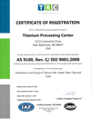 AS 9100 Certification | Titanium Processing Center